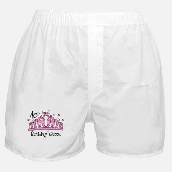 Tiara 40th Birthday Queen Boxer Shorts
