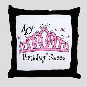 Tiara 40th Birthday Queen Throw Pillow