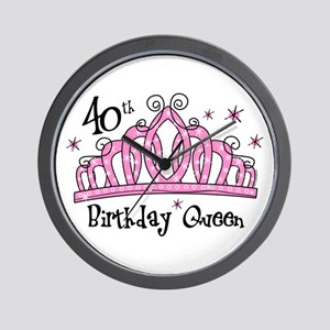 Tiara 40th Birthday Queen Wall Clock