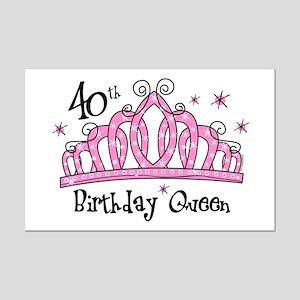 Tiara 40th Birthday Queen Mini Poster Print