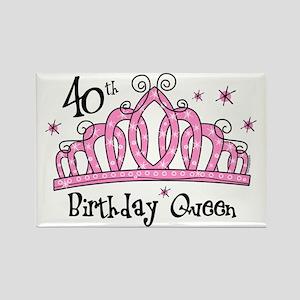 Tiara 40th Birthday Queen Rectangle Magnet