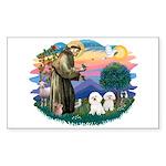 St Francis #2/ Bichon (2) Sticker (Rectangle)