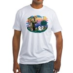 St Francis #2/ Bichon (2) Fitted T-Shirt