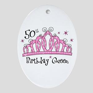 Tiara 50th Birthday Queen Ornament (Oval)