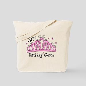 Tiara 50th Birthday Queen Tote Bag