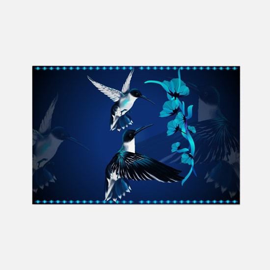 Two Blue Hummingbirds Rectangle Magnet