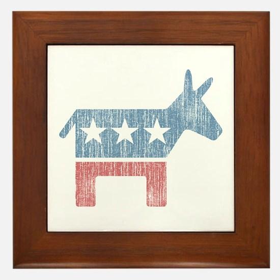 Vintage Democrat Donkey Framed Tile