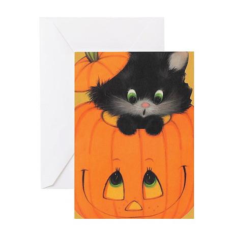 'Pumpkin Kitty' Greeting Card
