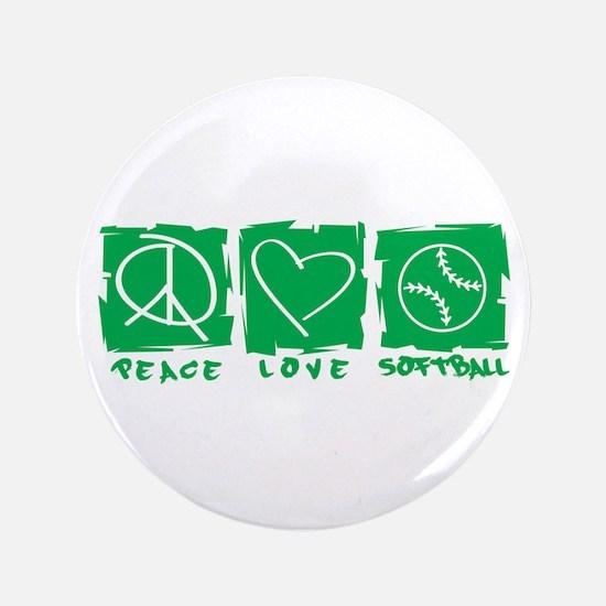 "Peace.Love.Softball 3.5"" Button"