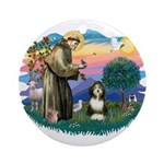 St Francis #2/ Beardie (#8) Ornament (Round)