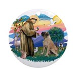 St Francis #2/ Bull Mastiff Ornament (Round)