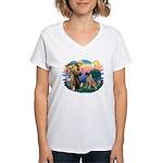 St Francis #2/ Bull Mastiff Women's V-Neck T-Shirt