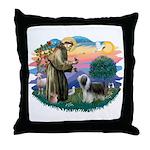 St Francis #2/ Beardie (sw) Throw Pillow