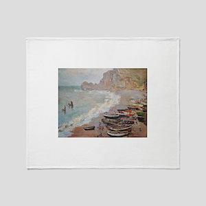The Beach at Etretat - Claude Monet Throw Blanket
