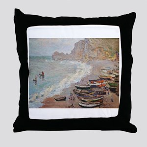 The Beach at Etretat - Claude Monet Throw Pillow
