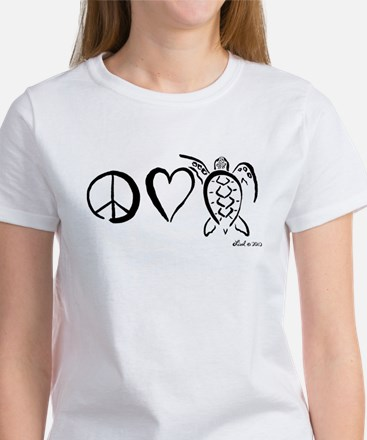 Peace, Love & Turtles Women's T-Shirt