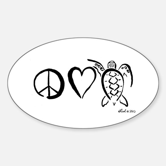 Peace, Love & Turtles Sticker (Oval)