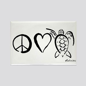 Peace, Love & Turtles Rectangle Magnet