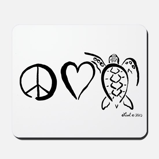 Peace, Love & Turtles Mousepad