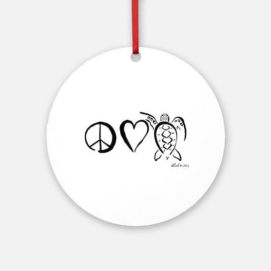 Peace, Love & Turtles Ornament (Round)