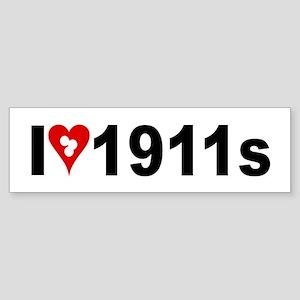 I (heart w/target holes) 1911s Sticker (Bumper)