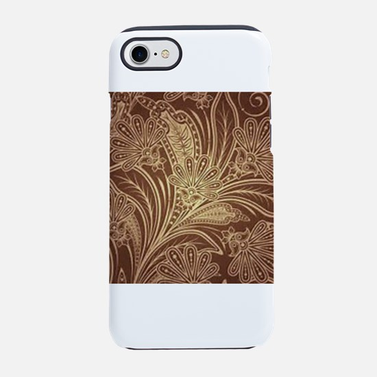 Brown and Tan Floral Pattern iPhone 7 Tough Case