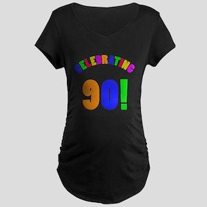Rainbow 90th Birthday Party Maternity Dark T-Shirt