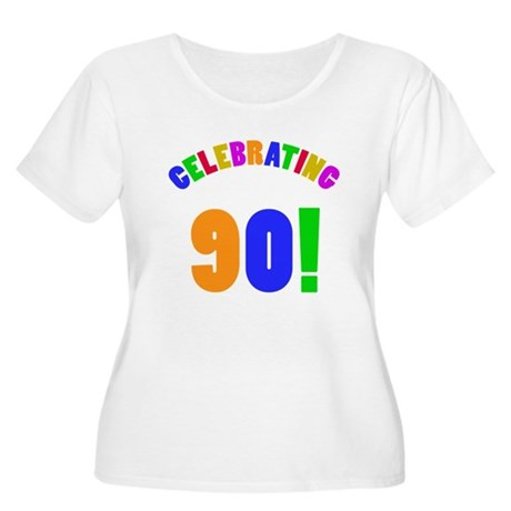 Rainbow 90th Birthday Party Women's Plus Size Scoo