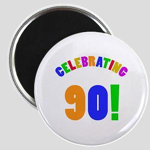 Rainbow 90th Birthday Party Magnet
