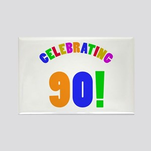 Rainbow 90th Birthday Party Rectangle Magnet