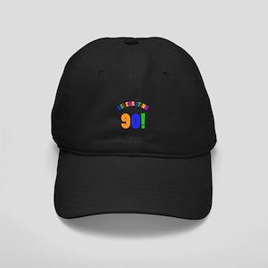 Rainbow 90th Birthday Party Black Cap