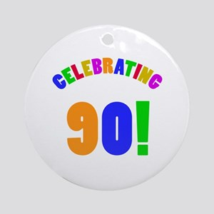 Rainbow 90th Birthday Party Ornament (Round)