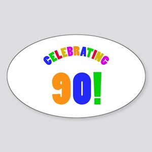 Rainbow 90th Birthday Party Sticker (Oval)