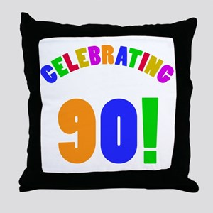 Rainbow 90th Birthday Party Throw Pillow