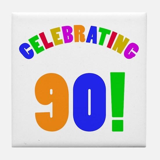 Rainbow 90th Birthday Party Tile Coaster