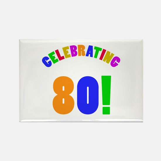 Rainbow 80th Birthday Party Rectangle Magnet (10 p