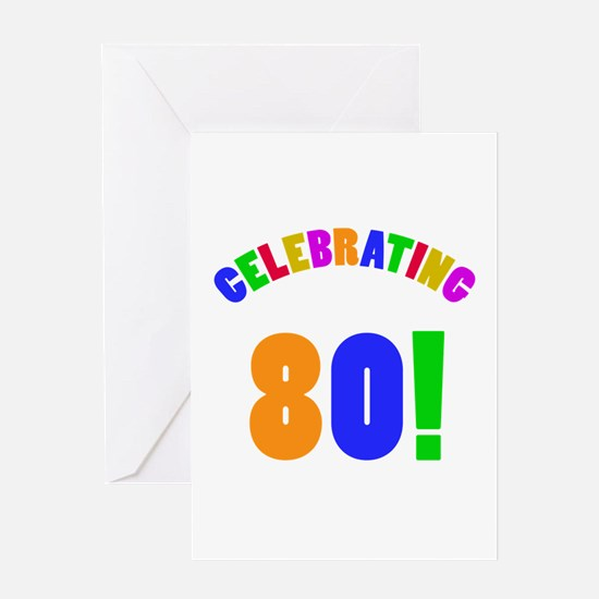 Rainbow 80th Birthday Party Greeting Card