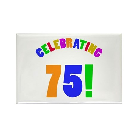 Rainbow 75th Birthday Party Rectangle Magnet