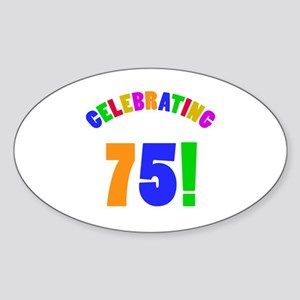 Rainbow 75th Birthday Party Sticker (Oval)