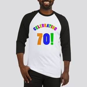 Rainbow 70th Birthday Party Baseball Jersey