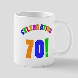 Rainbow 70th Birthday Party Mug