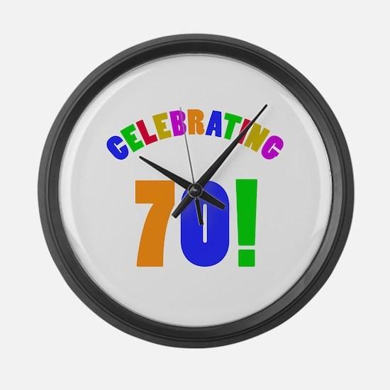 Rainbow 70th Birthday Party Large Wall Clock