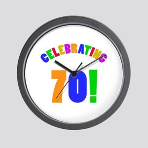 Rainbow 70th Birthday Party Wall Clock