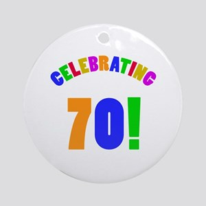 Rainbow 70th Birthday Party Ornament (Round)