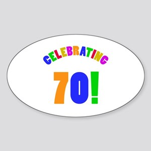 Rainbow 70th Birthday Party Sticker (Oval)