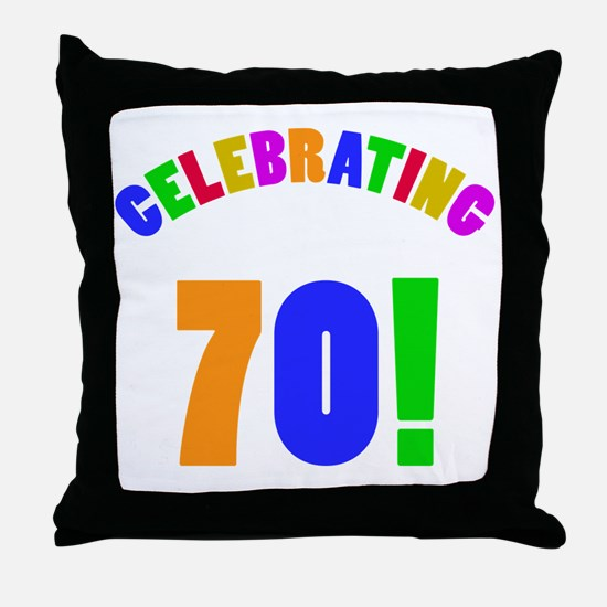 Rainbow 70th Birthday Party Throw Pillow