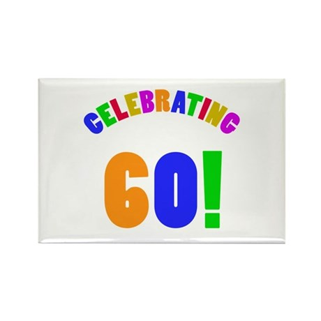 Rainbow 60th Birthday Party Rectangle Magnet (10 p