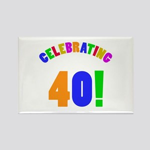 Rainbow 40th Birthday Party Rectangle Magnet