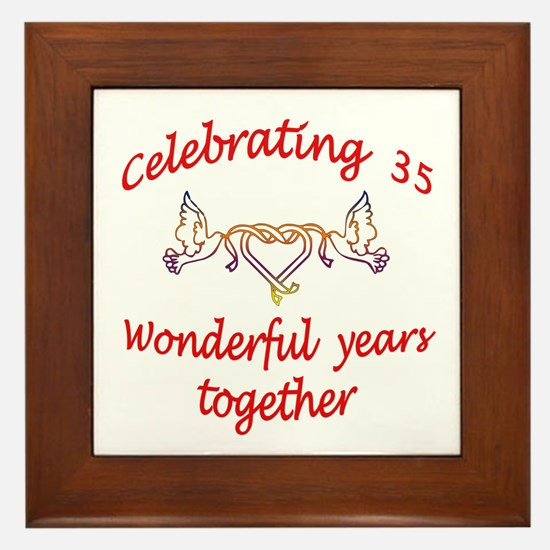 Funny 35th wedding anniversary Framed Tile