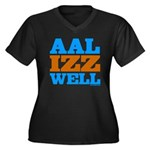 AAL IZZ WELL. Women's Plus Size V-Neck Dark T-Shir